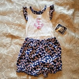 Navy floral ruffle baby set
